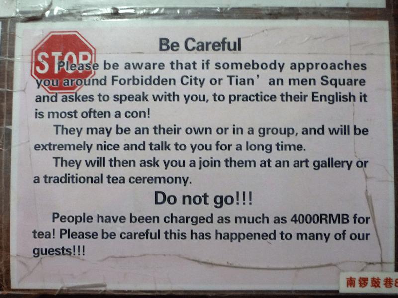 China aviso de golpe do chá